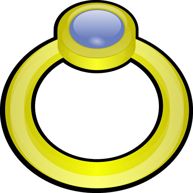 zlatý prsten, modrý kámen