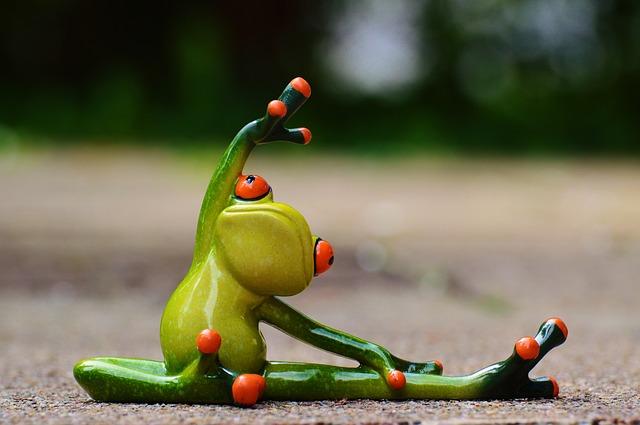 cvičící žába